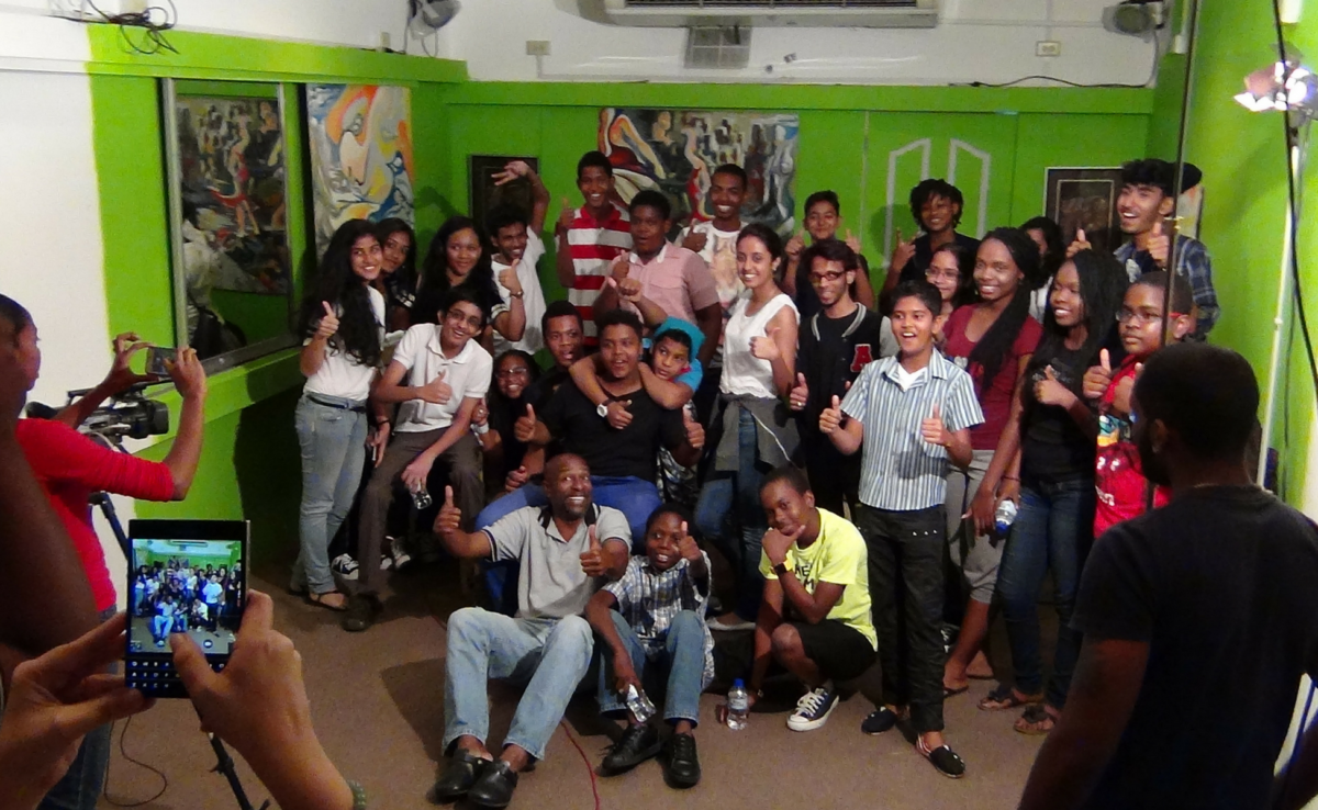 Teens of the DianJen Teen Music Workshop Meet with Errol Fabien at Gayelle in 2015