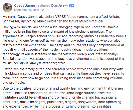 Review by past student, Quacy James