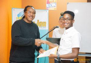 Sheldon Mendoza Presents Ngozi Permaul with his Certificate